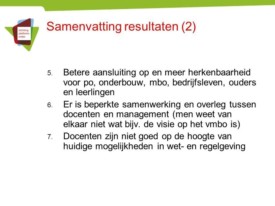Samenvatting resultaten (2) 5.