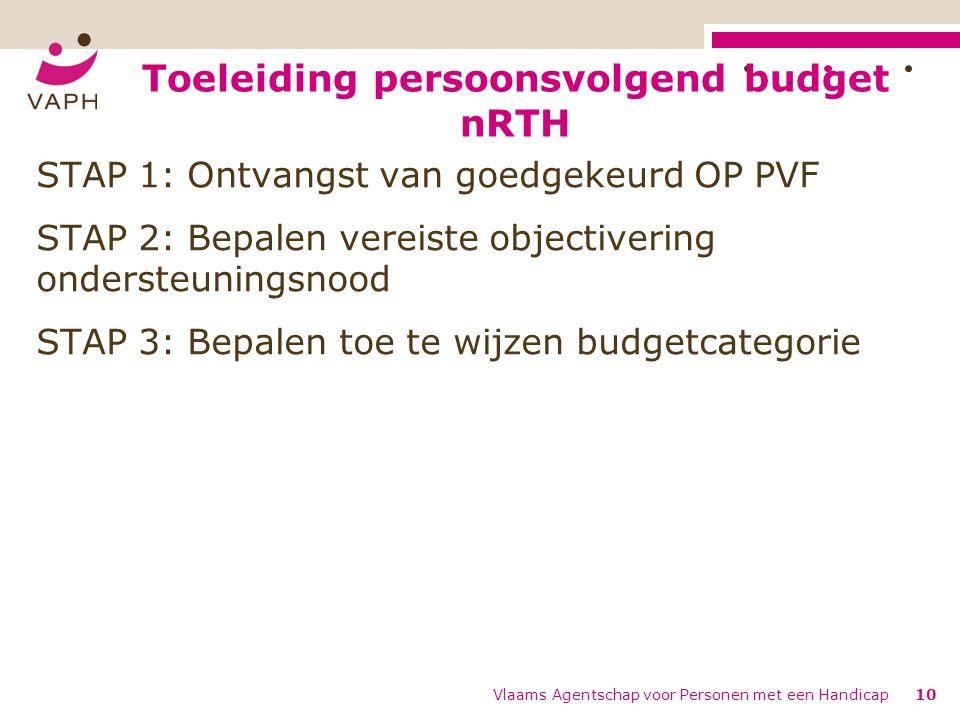 Toeleiding persoonsvolgend budget nRTH Vlaams Agentschap voor Personen met een Handicap10 STAP 1: Ontvangst van goedgekeurd OP PVF STAP 2: Bepalen vereiste objectivering ondersteuningsnood STAP 3: Bepalen toe te wijzen budgetcategorie