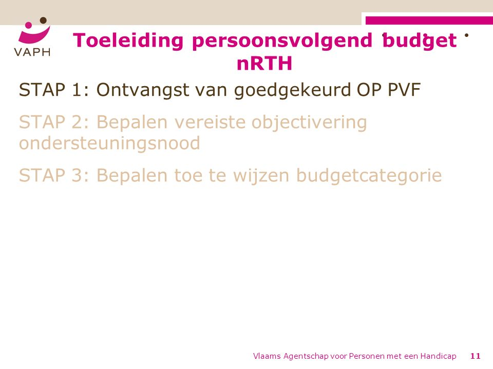 Toeleiding persoonsvolgend budget nRTH Vlaams Agentschap voor Personen met een Handicap11 STAP 1: Ontvangst van goedgekeurd OP PVF STAP 2: Bepalen vereiste objectivering ondersteuningsnood STAP 3: Bepalen toe te wijzen budgetcategorie