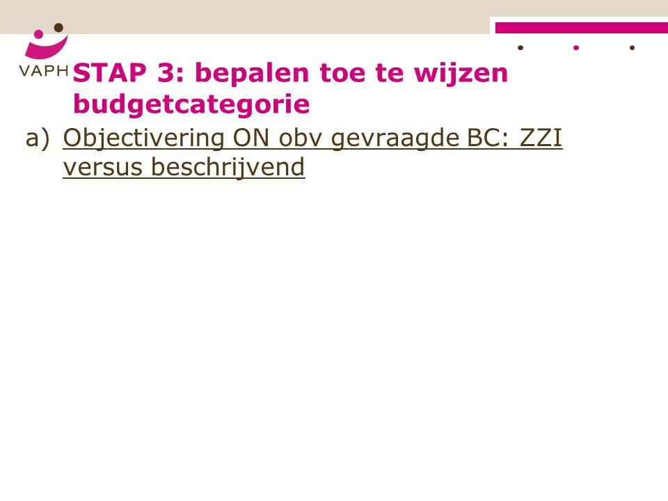 STAP 3: bepalen toe te wijzen budgetcategorie a)Objectivering ON obv gevraagde BC: ZZI versus beschrijvend
