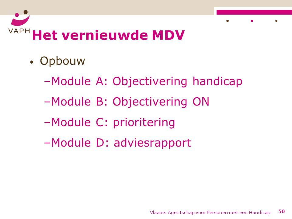 Het vernieuwde MDV Opbouw –Module A: Objectivering handicap –Module B: Objectivering ON –Module C: prioritering –Module D: adviesrapport Vlaams Agentschap voor Personen met een Handicap 50