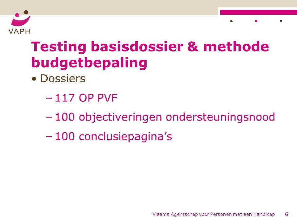 Testing basisdossier & methode budgetbepaling Dossiers –117 OP PVF –100 objectiveringen ondersteuningsnood –100 conclusiepagina's Vlaams Agentschap voor Personen met een Handicap6