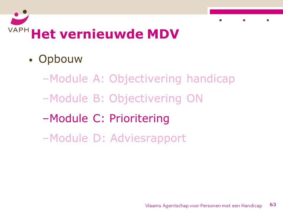 Het vernieuwde MDV Opbouw –Module A: Objectivering handicap –Module B: Objectivering ON –Module C: Prioritering –Module D: Adviesrapport Vlaams Agentschap voor Personen met een Handicap 63