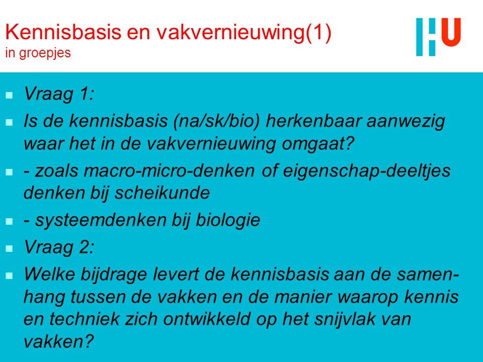 Kennisbasis en vakvernieuwing(1) in groepjes n Vraag 1: n Is de kennisbasis (na/sk/bio) herkenbaar aanwezig waar het in de vakvernieuwing omgaat? n -