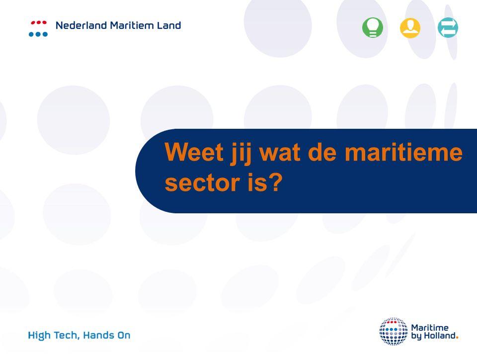 Maritieme sector bestaat uit: Havens Offshore Maritieme toeleveranciers Scheepsbouw Zeevaart Waterbouw Maritieme dienstverlening en kennisinstituten Binnenvaart Koninklijke Marine Watersportindustrie Visserij