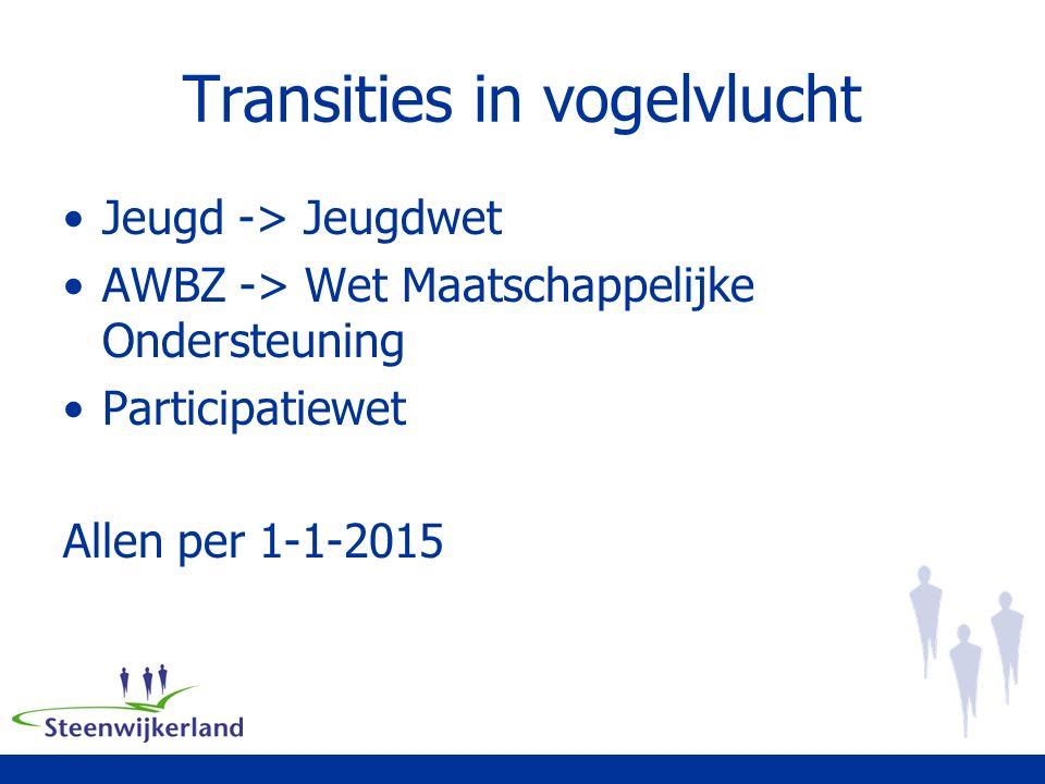 Transities in vogelvlucht Jeugd -> Jeugdwet AWBZ -> Wet Maatschappelijke Ondersteuning Participatiewet Allen per 1-1-2015