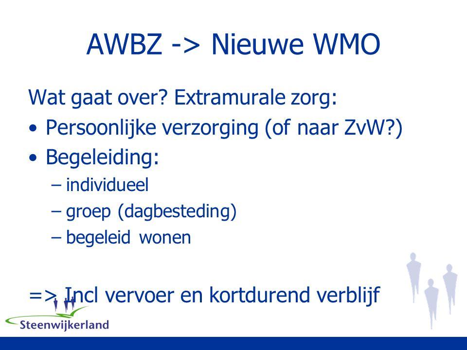 AWBZ -> Nieuwe WMO Wat gaat over.