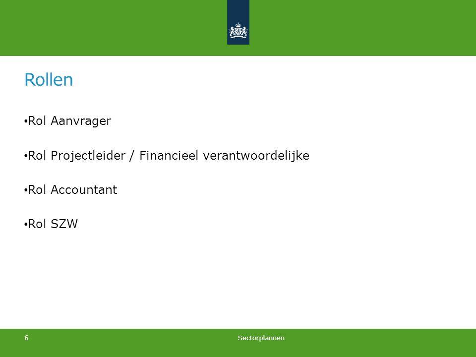 Rollen Rol Aanvrager Rol Projectleider / Financieel verantwoordelijke Rol Accountant Rol SZW Sectorplannen 6