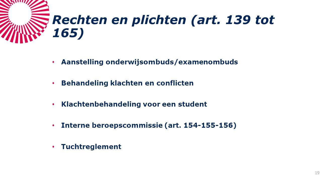 Rechten en plichten (art. 139 tot 165) Aanstelling onderwijsombuds/examenombuds Behandeling klachten en conflicten Klachtenbehandeling voor een studen