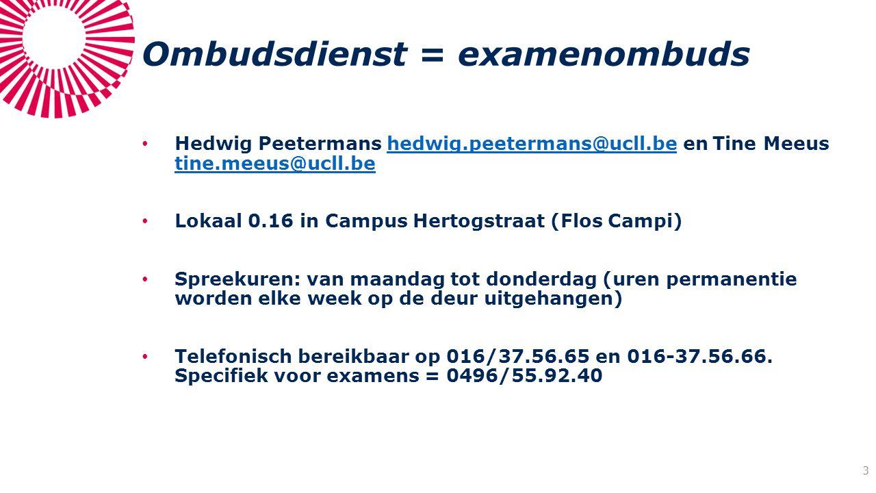 Ombudsdienst = examenombuds Hedwig Peetermans hedwig.peetermans@ucll.be en Tine Meeus tine.meeus@ucll.behedwig.peetermans@ucll.be tine.meeus@ucll.be L