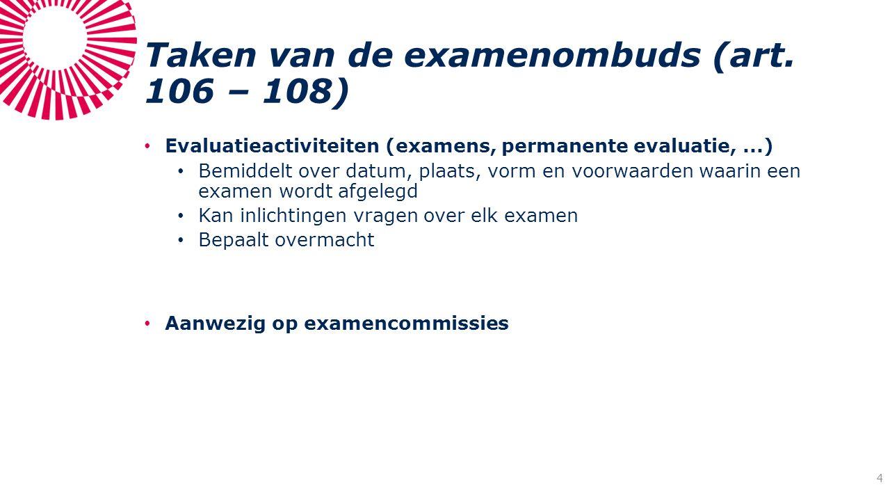 Taken van de examenombuds (art. 106 – 108) Evaluatieactiviteiten (examens, permanente evaluatie,...) Bemiddelt over datum, plaats, vorm en voorwaarden