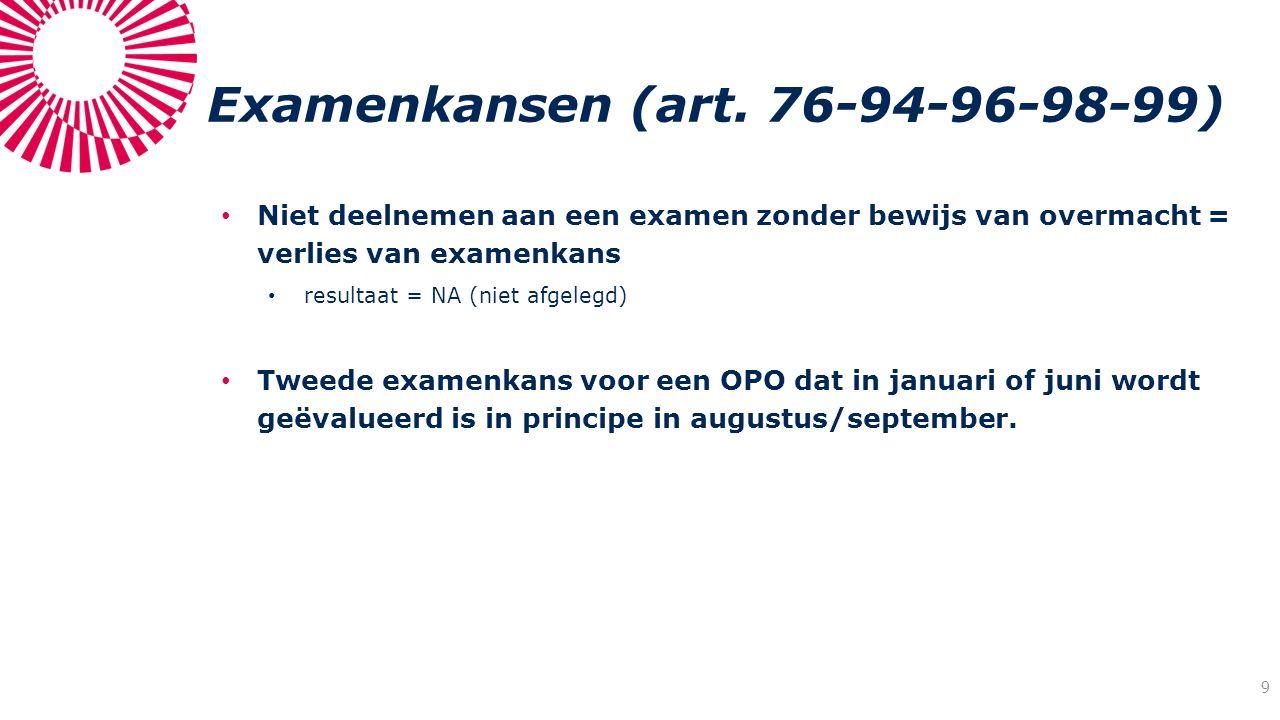 Examenkansen (art. 76-94-96-98-99) Niet deelnemen aan een examen zonder bewijs van overmacht = verlies van examenkans resultaat = NA (niet afgelegd) T