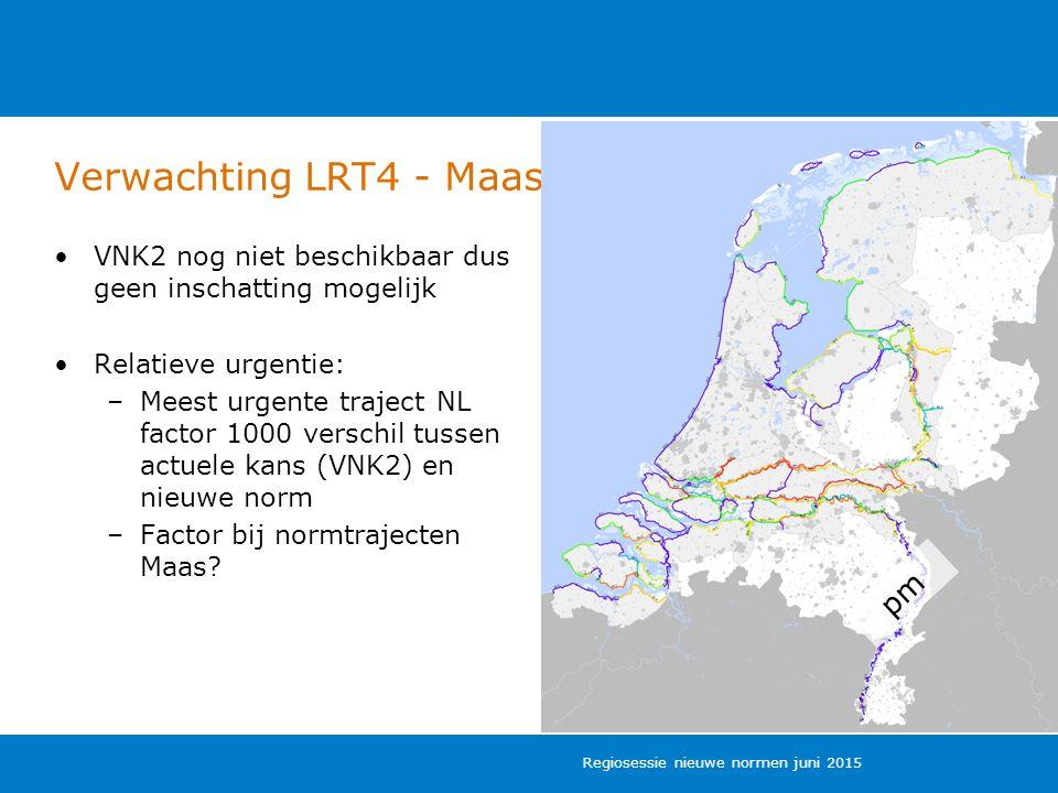 Verwachting LRT4 - Maas VNK2 nog niet beschikbaar dus geen inschatting mogelijk Relatieve urgentie: –Meest urgente traject NL factor 1000 verschil tussen actuele kans (VNK2) en nieuwe norm –Factor bij normtrajecten Maas.