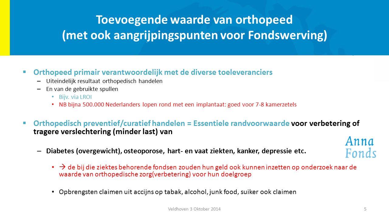 Toevoegende waarde van orthopeed (met ook aangrijpingspunten voor Fondswerving)  Orthopeed primair verantwoordelijk met de diverse toeleveranciers – Uiteindelijk resultaat orthopedisch handelen – En van de gebruikte spullen Bijv.