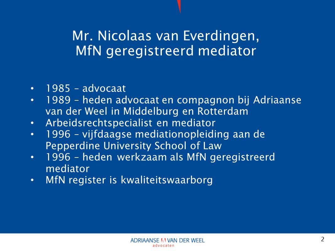 Mr. Nicolaas van Everdingen, MfN geregistreerd mediator 1985 – advocaat 1989 – heden advocaat en compagnon bij Adriaanse van der Weel in Middelburg en