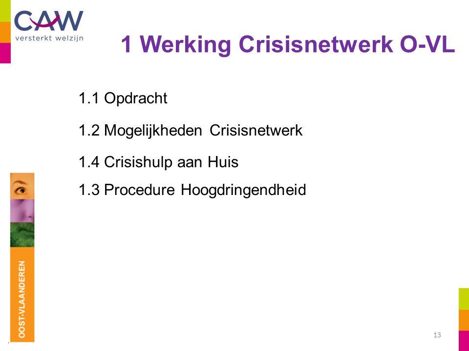 1 Werking Crisisnetwerk O-VL 1.1 Opdracht 1.2 Mogelijkheden Crisisnetwerk 1.4 Crisishulp aan Huis 1.3 Procedure Hoogdringendheid 13