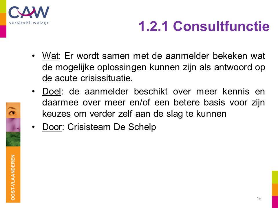 1.2.1 Consultfunctie Wat: Er wordt samen met de aanmelder bekeken wat de mogelijke oplossingen kunnen zijn als antwoord op de acute crisissituatie.