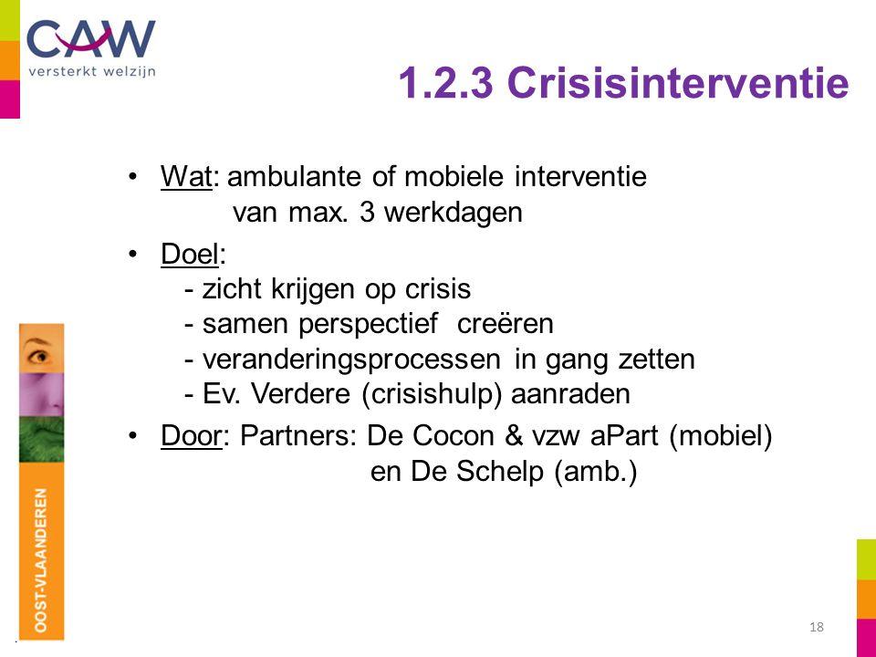 1.2.3 Crisisinterventie Wat: ambulante of mobiele interventie van max.