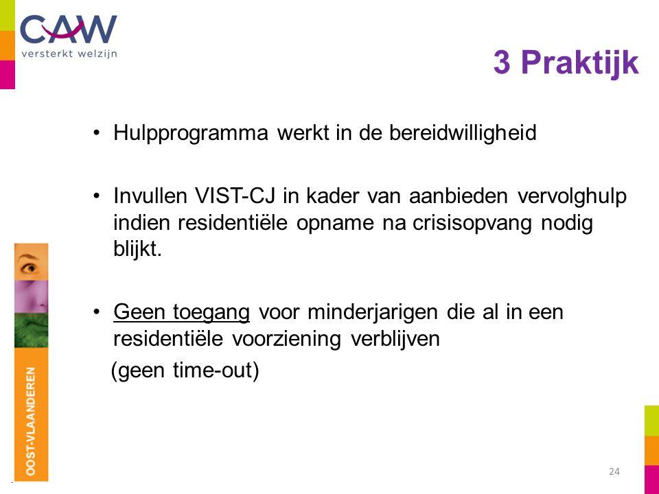 3 Praktijk Hulpprogramma werkt in de bereidwilligheid Invullen VIST-CJ in kader van aanbieden vervolghulp indien residentiële opname na crisisopvang nodig blijkt.