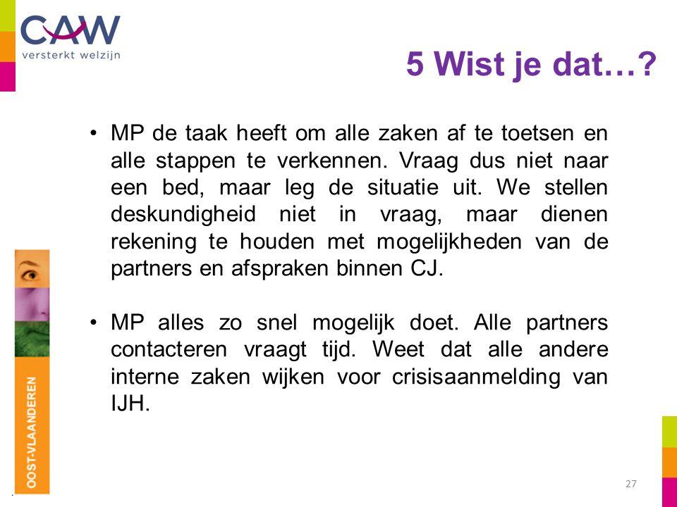 5 Wist je dat…. 27 MP de taak heeft om alle zaken af te toetsen en alle stappen te verkennen.