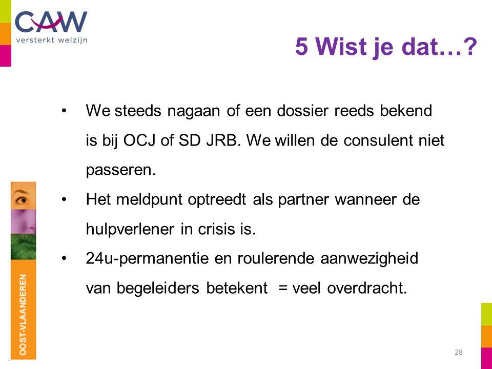 5 Wist je dat…. 28 We steeds nagaan of een dossier reeds bekend is bij OCJ of SD JRB.