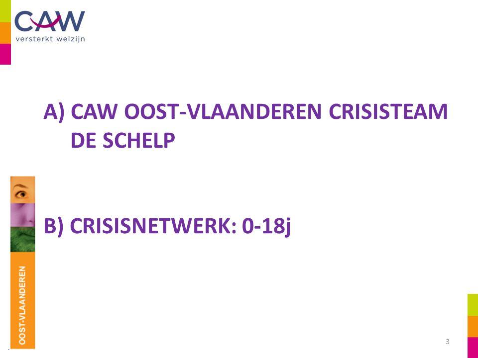 A) CAW OOST-VLAANDEREN CRISISTEAM DE SCHELP B) CRISISNETWERK: 0-18j 3