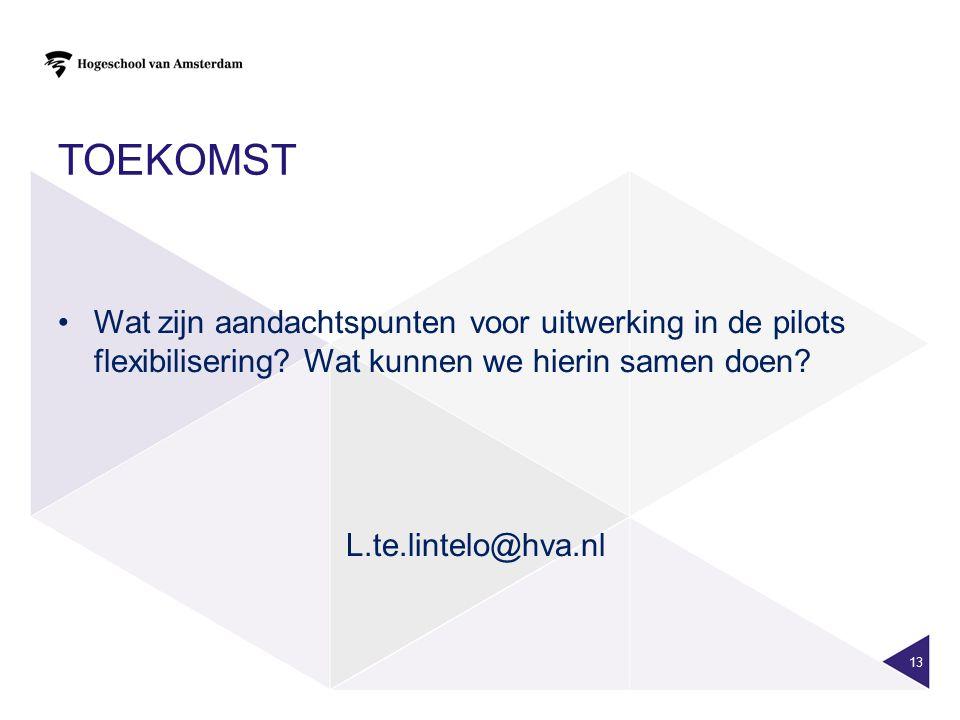 TOEKOMST Wat zijn aandachtspunten voor uitwerking in de pilots flexibilisering? Wat kunnen we hierin samen doen? L.te.lintelo@hva.nl 13