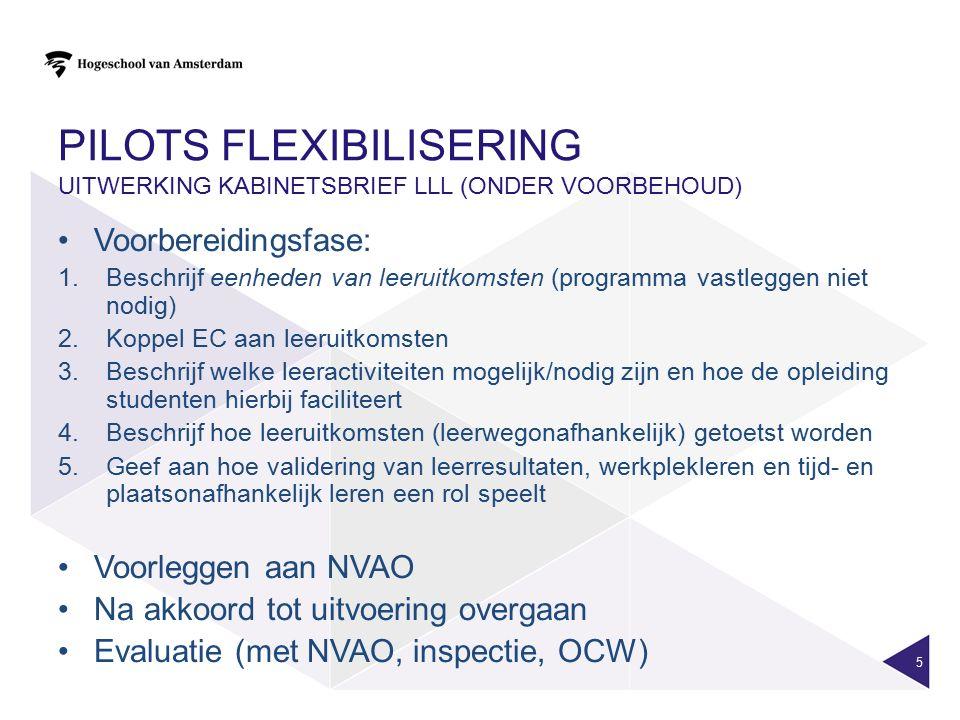 PILOTS FLEXIBILISERING UITWERKING KABINETSBRIEF LLL (ONDER VOORBEHOUD) Voorbereidingsfase: 1.Beschrijf eenheden van leeruitkomsten (programma vastlegg