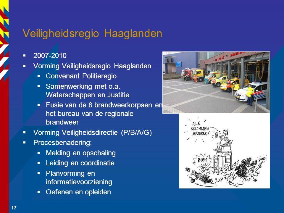 17 Veiligheidsregio Haaglanden  2007-2010  Vorming Veiligheidsregio Haaglanden  Convenant Politieregio  Samenwerking met o.a. Waterschappen en Jus
