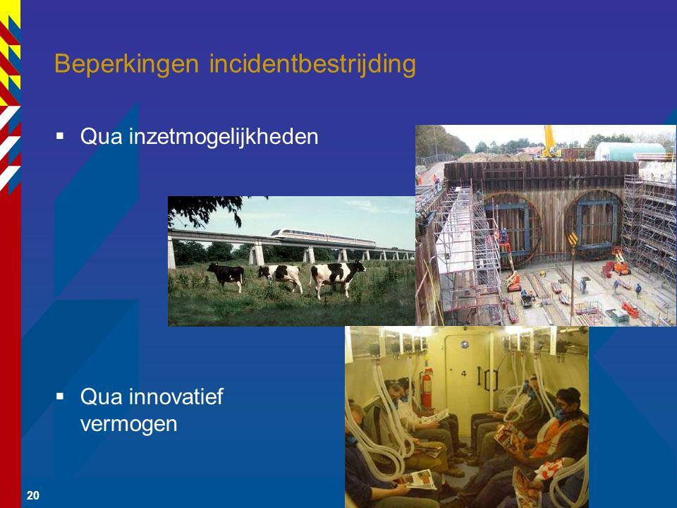20 Beperkingen incidentbestrijding  Qua inzetmogelijkheden  Qua innovatief vermogen