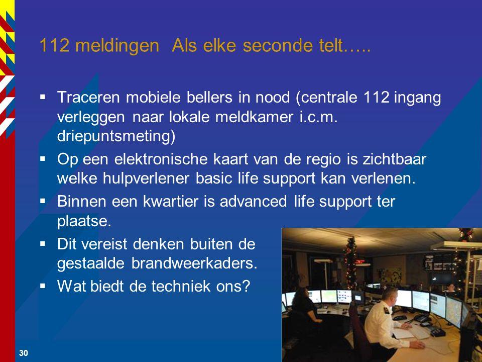 30 112 meldingen Als elke seconde telt…..  Traceren mobiele bellers in nood (centrale 112 ingang verleggen naar lokale meldkamer i.c.m. driepuntsmeti