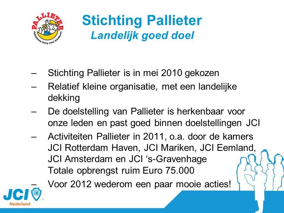 Het landelijk goed doel voor 2013 en verder… JCI NL kent een rijke historie aan landelijk goede doelen, denk aan academische kinderziekenhuizen, Nothing but Nets en Stichting Pallieter en staat achter het concept landelijk goed doel Ondersteunen kamers bij het binnenhalen van funding, zodat JCI NL nog meer bijdraagt aan de maatschappij.