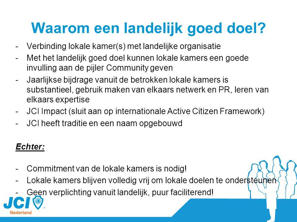 Waarom een landelijk goed doel? -Verbinding lokale kamer(s) met landelijke organisatie -Met het landelijk goed doel kunnen lokale kamers een goede inv
