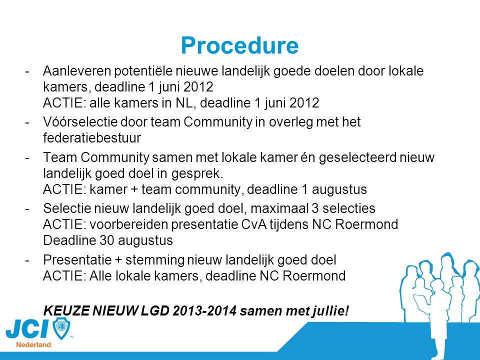 Procedure -Aanleveren potentiële nieuwe landelijk goede doelen door lokale kamers, deadline 1 juni 2012 ACTIE: alle kamers in NL, deadline 1 juni 2012 -Vóórselectie door team Community in overleg met het federatiebestuur -Team Community samen met lokale kamer én geselecteerd nieuw landelijk goed doel in gesprek.