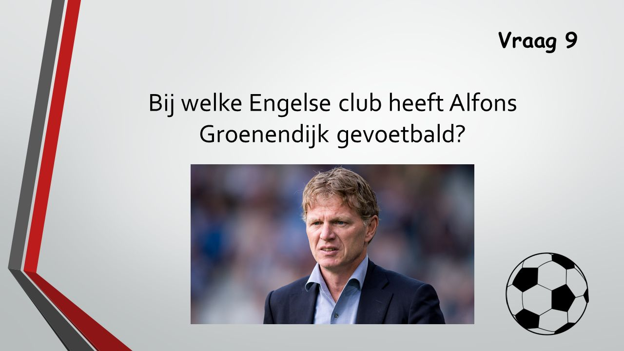 Vraag 9 Bij welke Engelse club heeft Alfons Groenendijk gevoetbald?