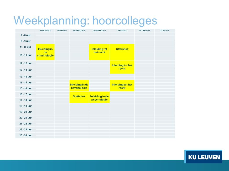Weekplanning: hoorcolleges
