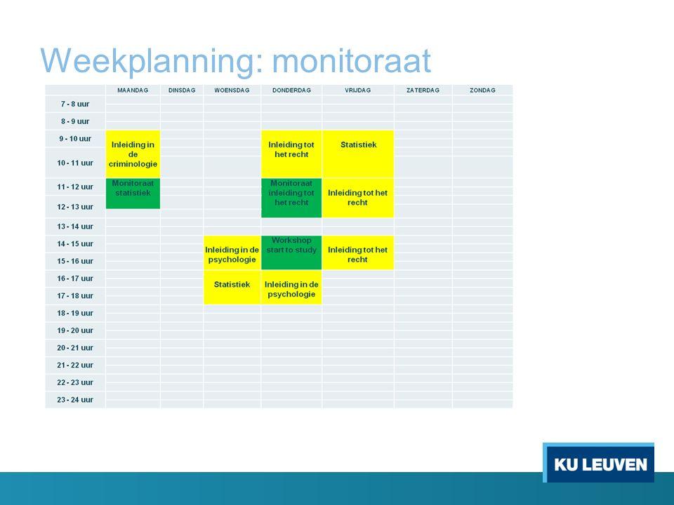 Weekplanning: monitoraat
