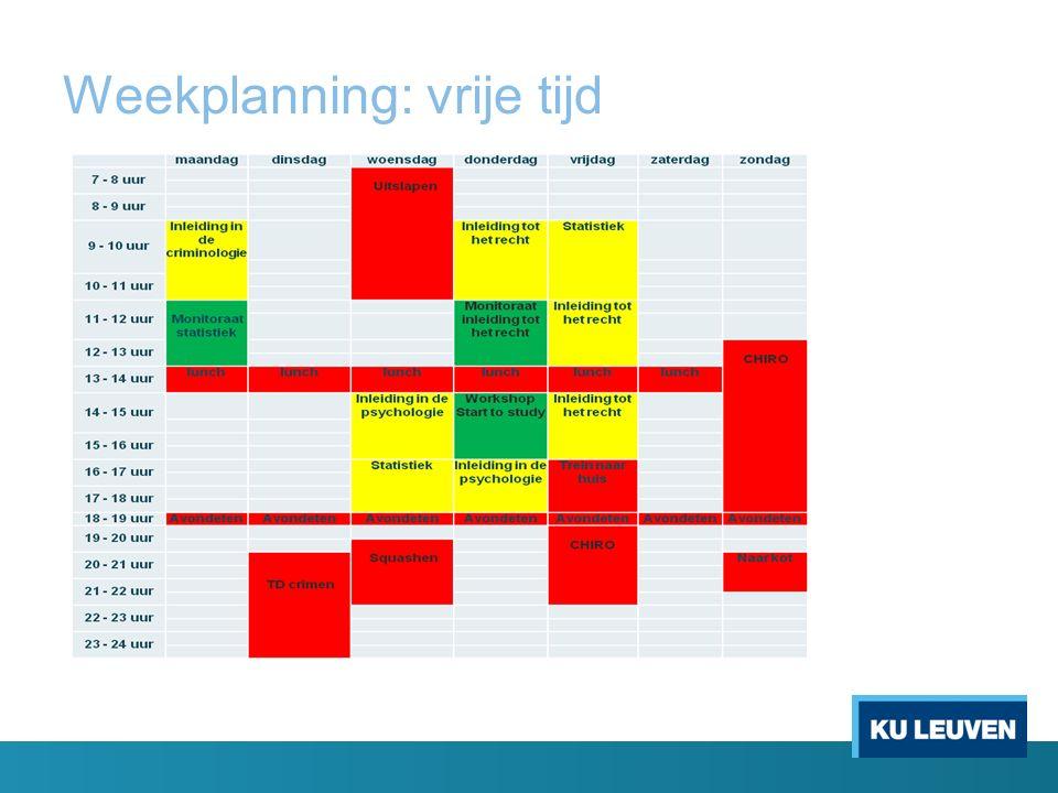 Weekplanning: vrije tijd