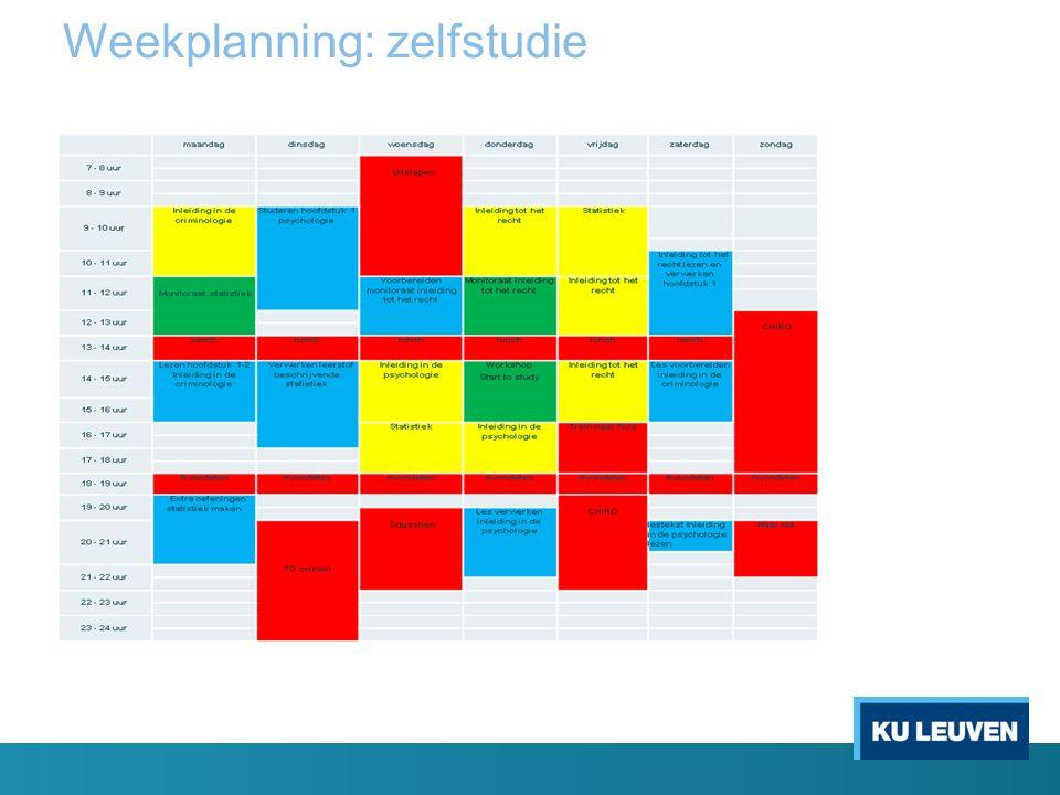 Weekplanning: zelfstudie