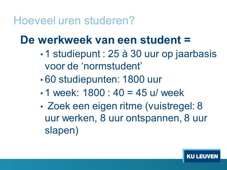 Hoeveel uren studeren? De werkweek van een student = 1 studiepunt : 25 à 30 uur op jaarbasis voor de 'normstudent' 60 studiepunten: 1800 uur 1 week: 1