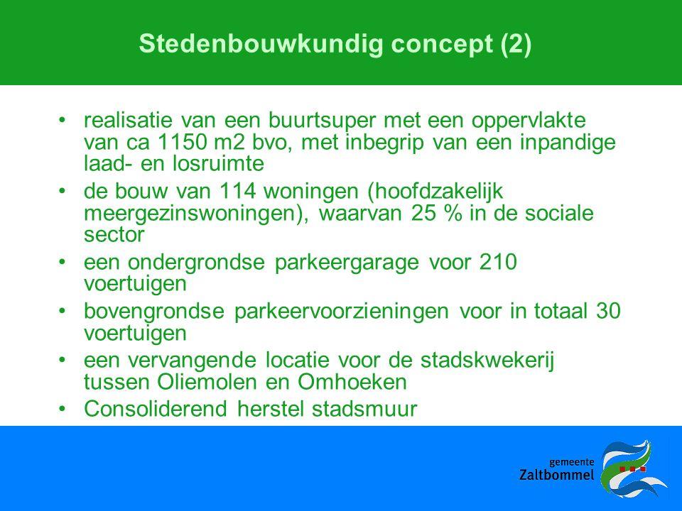 Stedenbouwkundig concept (2) realisatie van een buurtsuper met een oppervlakte van ca 1150 m2 bvo, met inbegrip van een inpandige laad- en losruimte de bouw van 114 woningen (hoofdzakelijk meergezinswoningen), waarvan 25 % in de sociale sector een ondergrondse parkeergarage voor 210 voertuigen bovengrondse parkeervoorzieningen voor in totaal 30 voertuigen een vervangende locatie voor de stadskwekerij tussen Oliemolen en Omhoeken Consoliderend herstel stadsmuur