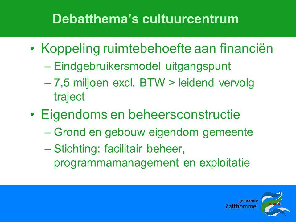 Debatthema's cultuurcentrum Koppeling ruimtebehoefte aan financiën –Eindgebruikersmodel uitgangspunt –7,5 miljoen excl.