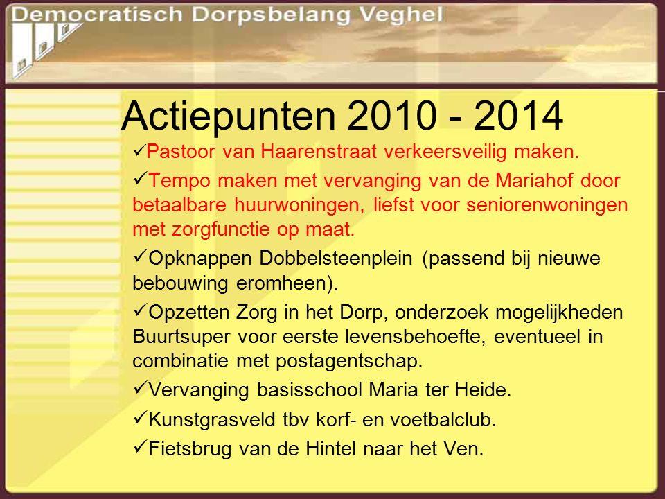 Actiepunten 2010 - 2014 Pastoor van Haarenstraat verkeersveilig maken.