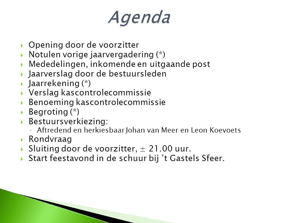  Opening door de voorzitter  Notulen vorige jaarvergadering (*)  Mededelingen, inkomende en uitgaande post  Jaarverslag door de bestuursleden  Ja