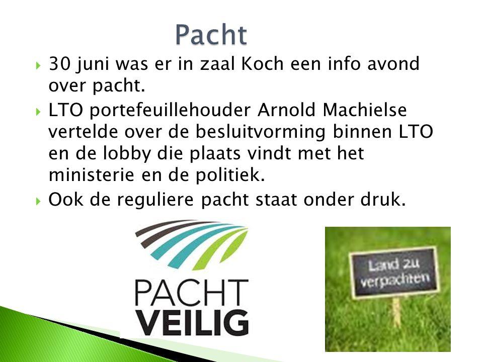  30 juni was er in zaal Koch een info avond over pacht.  LTO portefeuillehouder Arnold Machielse vertelde over de besluitvorming binnen LTO en de lo