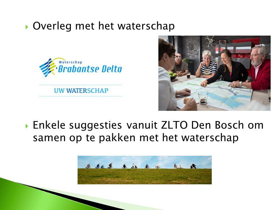  Overleg met het waterschap  Enkele suggesties vanuit ZLTO Den Bosch om samen op te pakken met het waterschap