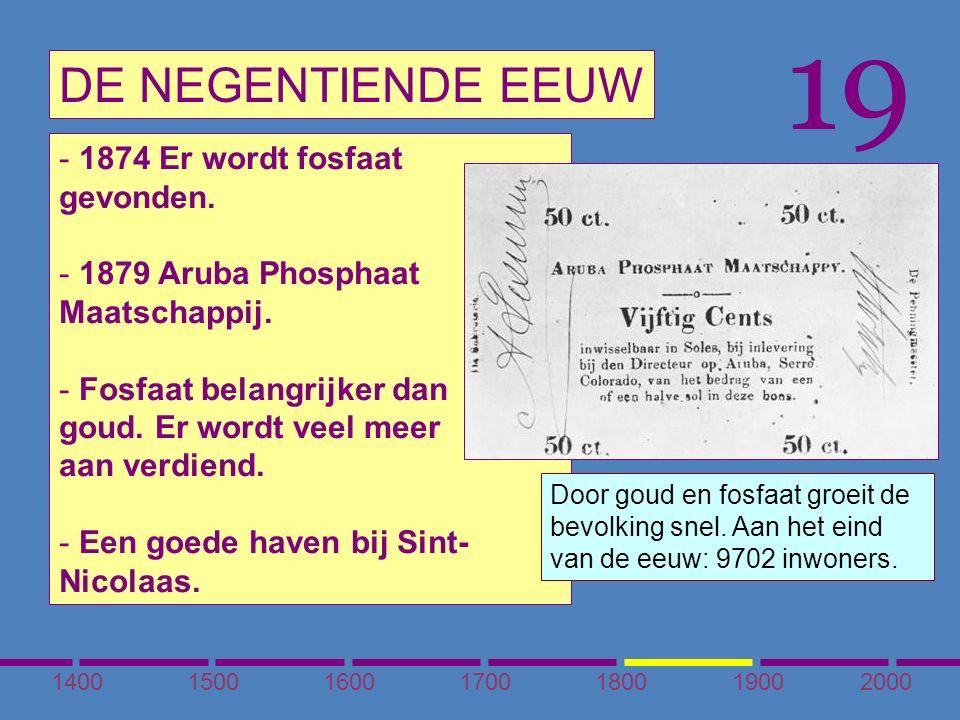 1400150016001700180020001900 DE NEGENTIENDE EEUW 19 - 1874 Er wordt fosfaat gevonden.