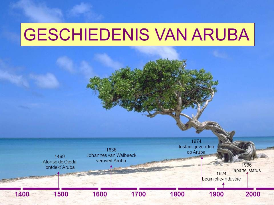 GESCHIEDENIS VAN ARUBA 1400150016001700180020001900 1499 Alonso de Ojeda 'ontdekt' Aruba 1636 Johannes van Walbeeck verovert Aruba 1874 fosfaat gevonden op Aruba 1924 begin olie-industrie 1986 'aparte' status