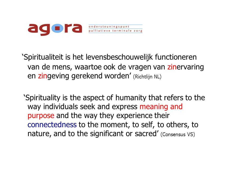 'Spiritualiteit is het levensbeschouwelijk functioneren van de mens, waartoe ook de vragen van zinervaring en zingeving gerekend worden' (Richtlijn NL