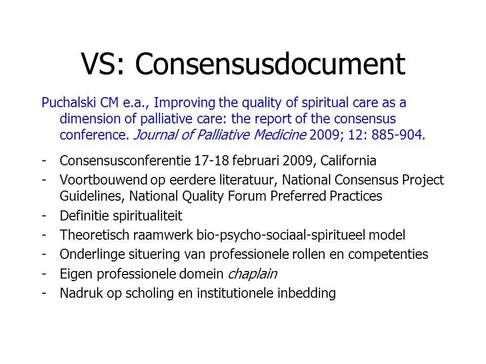 VS: Consensusdocument Puchalski CM e.a., Improving the quality of spiritual care as a dimension of palliative care: the report of the consensus confer